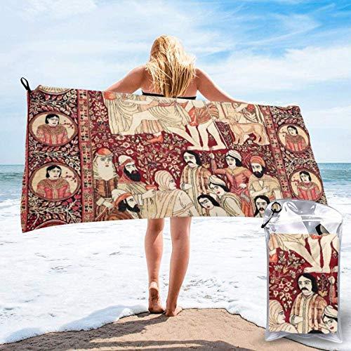 N/A Kerman Südpersischer Teppich mit Pictorial Teppich mit Joseph Beach, schnell trocknendes Handtuch, Mikrofaser, Yoga, Fitness, saugfähiges Handtuch, Outdoor, Klettern, schnelltrocknend