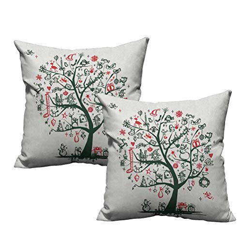 Dasnh 2 Piece Throw Pillow Covers Large Tree with New Year Ornaments Presents and Candles Angels Holiday Theme 20'x20',Durable Decorative