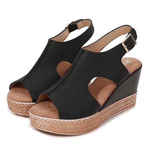 Sandalias De Mujer Negras Zapatos De Mujer De Fondo Grueso Sandalias De Cuña Con Boca De Pez De Verano Para Mujer Sandalias De Mujer Casual De Tacón Alto