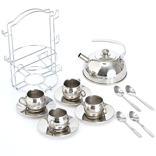 Timy Play Tea Party Set 14pcs for Girls, BPA Free Stainless Steel Teapot Pretend Kitchen Toys