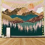 Lishang Grande Tapiz de Pared Paisaje Psicodélico Sol Tapiz Bosque Naturaleza Mandala Tapiz Bohemio Indio para Sala de Estar Dormitorio Hogar Decoración Regalo