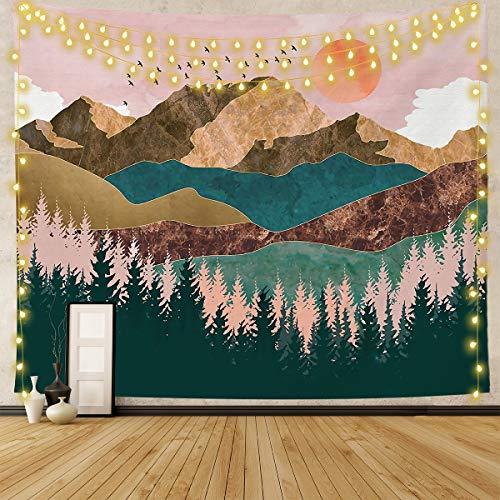 Lishang Arazzo da Parete Grande Natura Sole Arazzo Montagna Tramonto Arazzo Albero Foresta Arazzo Paesaggio per Camera Letto Soggiorno Dormitorio Decor Parete