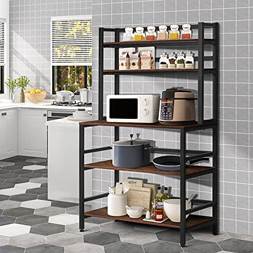 YGBH 5-Tier Kitchen Bakers Rack with Hutch, Coffee Station, Microwave Oven Stand, Utility Storage Rack for Home Office, Easy Assembly, Rustic Brown and Black (Rustic Brown)