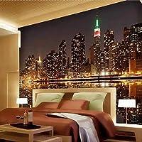 3D写真壁紙シティナイトビューリビングルームテレビ背景家の装飾寝室の壁の壁画壁紙3D 300cmx210cm