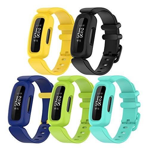 (5 unidades) Chofit correas de repuesto compatibles con Fitbit Ace 3 correa, silicona suave deportiva ajustable y flexible, correa de brazo para niños 6+ para Ace 3/Inspire 2 Activity Tracker (5C)