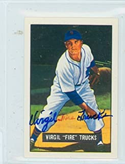 Virgil Trucks AUTOGRAPH d.13 1951 Bowman Reprints Detroit Tigers