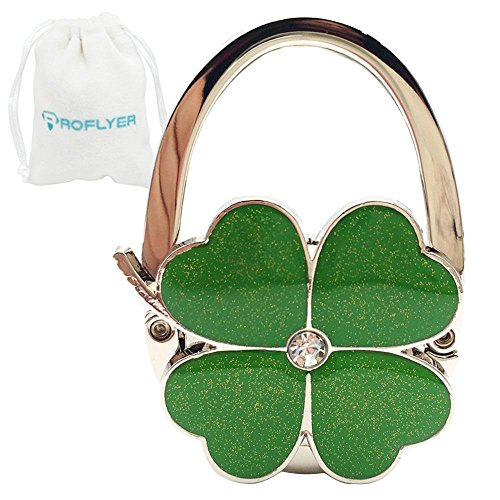 Four Leaf Clover Design Foldable Handbag Hanger Folding Purse Table Hook Holder(Green)