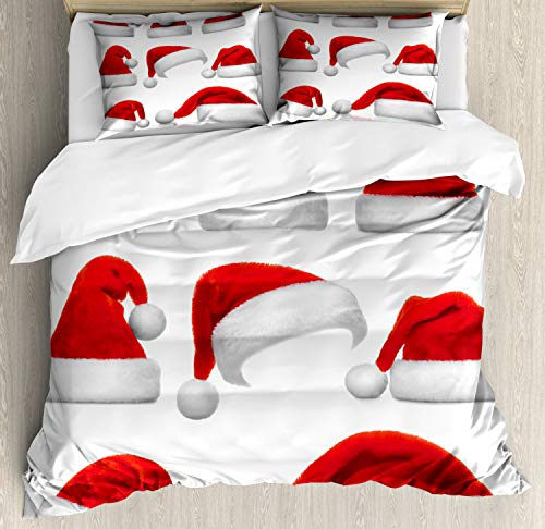 Ambesonne Christmas Duvet Cover Set, Classical Santa Claus Hats Xmas New Year Celebration Tradition Party Theme, Decorative 3 Piece Bedding Set with 2 Pillow Shams, Queen Size, White Red