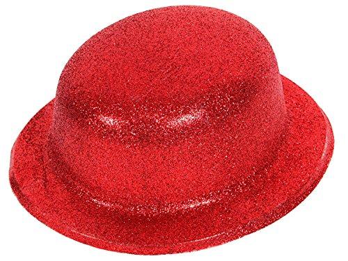 Alsino Bombetta | Cappello Rosso | Scintillante | Glitter | Taglia Unica | Adulti | per Travestimento | Costume | Chaplin | Carnevale | Halloween | Serata Festa a Tema, MEL-04 Glitter Rosso