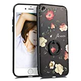 """iPhone SE2 ケース [第2世代] iPhone8 ケース リング iPhone7ケース リング付き かわいい 花柄 ディズニー おしゃれ キャラクター ストラップホール iPhoneカバー スマホケース (iPhone7/iPhone8/iPhone SE[第2世代]4.7"""", バラ1)"""