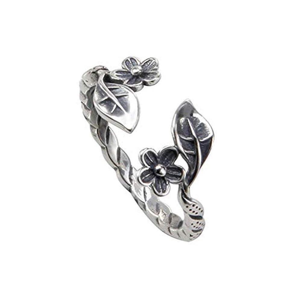 組豊富なコジオスコLoveAloe 女性の結婚指輪、タイ銀色のための調節可能なヴィンテージの葉の梅の花のオープニングリング
