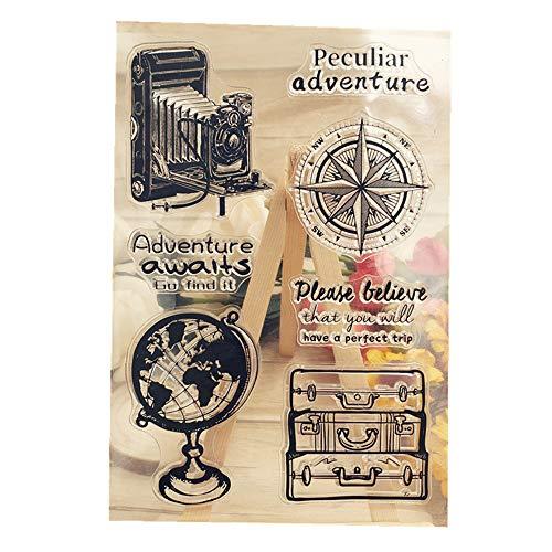 Junecake Viaje Sellos Transparente,Sello de Silicona para Fabricaci贸n de Tarjetas Decoraci贸n y DIY Scrapbooking Embossing Album Decor Craft