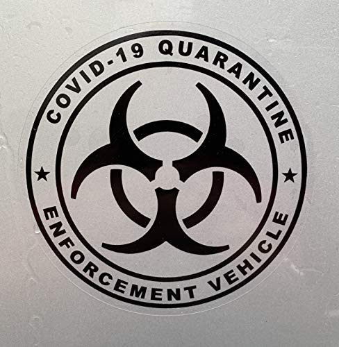 VirtualVending COIVD 19 Coronavirus Sticker Quarantine Enforcement 5' Dye Cut 100% Waterproof Made in USA