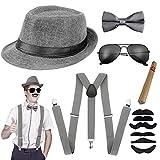Aperil 1920s Uomo Accessori Anni 20s Dress Costume Set per Fancy Gatsby Kit con Cappello Panama da Gangster Bretella Elastiche Regolabili Papillon e Orologio da Taschino Vintage Sigaro (Grigio)