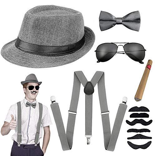 Aperil 1920s Jahre Herren Accessoires, 20er Gangster Kostüm Rockabilly Mafia Gatsby Flapper kostüm Zubehör Set mit Elastisch Verstellbar Hosenträger Panama Gangster Hut Taschenuhr Zigarre (Blau)