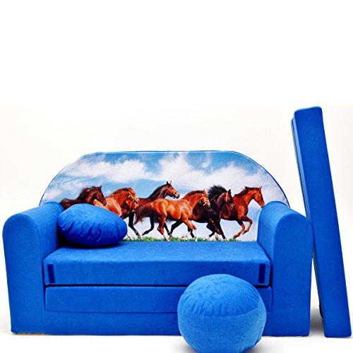 Kindersofa Kinder Sofa Couch Baby Schlafsofa Kinderzimmer Bett gemütlich verschidene Farben und motiven (C29 blau Pferde)