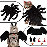 Whaline Halloween Pet Costume Set Pet Funny Apparel Including Bat Wings Spider Clothes, Bat Hairpin Little Devil Horn Hairpin, Pumpkin Bell for Dogs Puppy Cats Party Dress Up