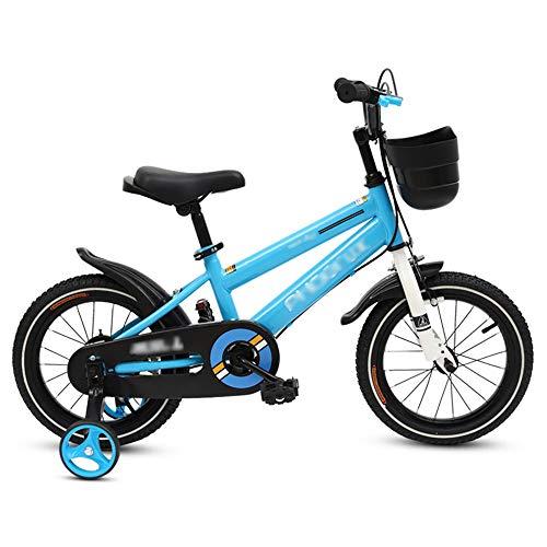 LJJL Bicicleta Infantil para Niños 2-3-5-6-7-10 Años Bicicleta Azul para Niños 12/14/16/18 Pulgadas 2 Estilos Bicicletas Infantiles