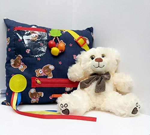 Blue Teddy themed Sensory Fidget Cushion and Bear - Dementia activities