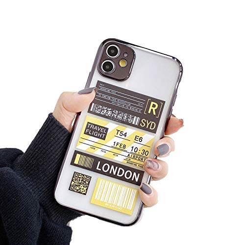NDJqer Travel Label Plating Phone Case For iPhone 11 Pro Max Cases For iPhone 6 6S 7 8 Plus X XS XR Flight Ticket Letter Soft Cover-HX-3-for iPhone XR