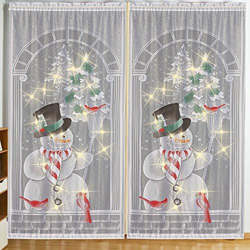 LOCOLO 2Pcs Christmas Snowman Curtain Panel Festive Colorful Curtain Panel, Christmas Curtain, 83.8 x 39.7 in
