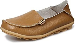 Women Classic Loafers Casual Leather Oxford Soft Round Toe Slip On Comfort Walking Flats Anti-Skid Boat Shoes