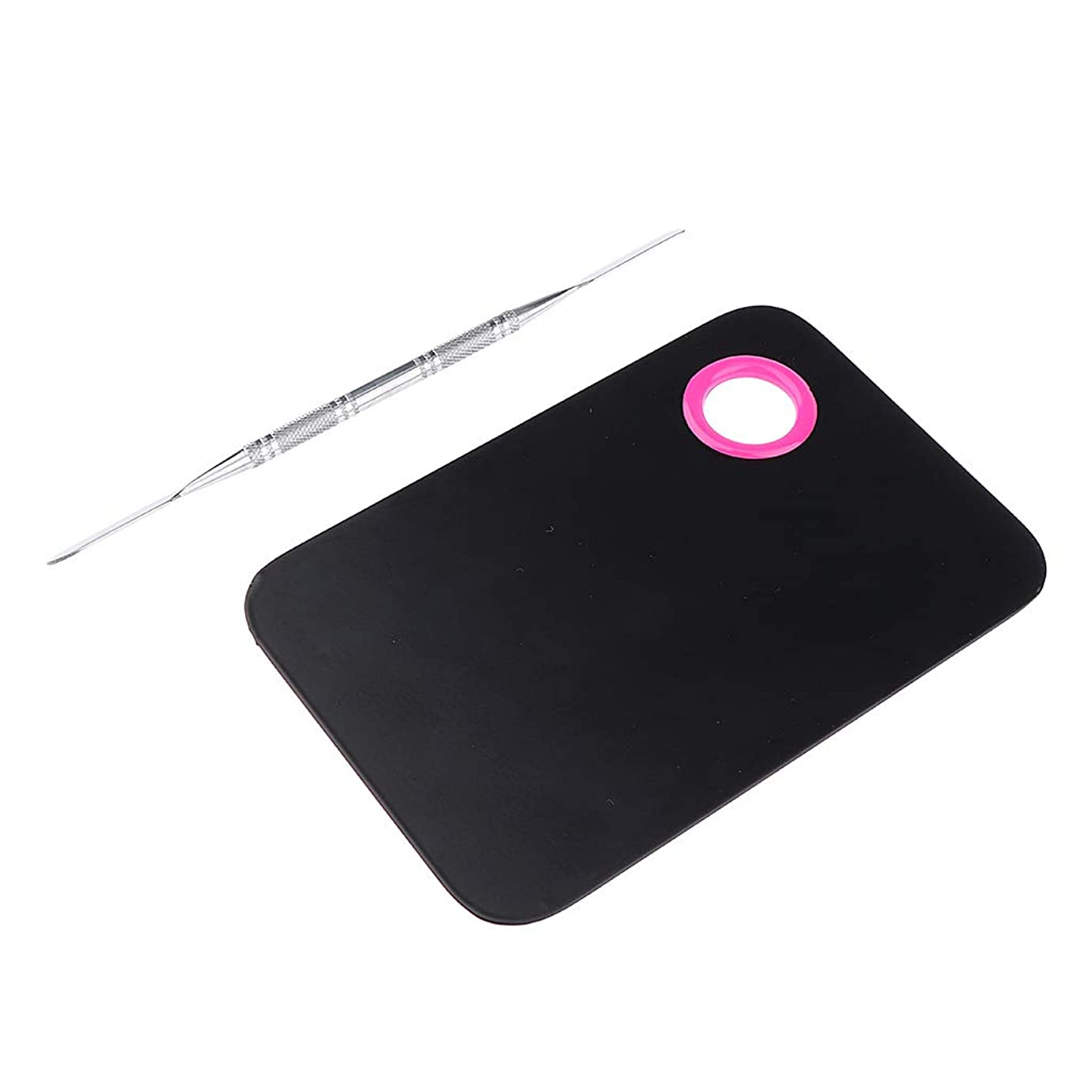 指紋端末制限ミキシングパレット ネイルアート メイクアップ スパチュラ プロ DIY 2色選べ - ブラック