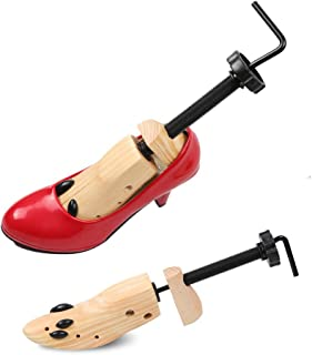 2 Pack Adjustable Shoe Stretcher, Professional Wooden Shoes Shaper/Shoe Tree for Men & Women Adjustable Shoe Expander Boot Stretcher for Bunions(Size 8-12)