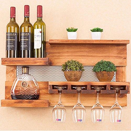 Estante de madera de pared creativa, estante de vino montado en la pared, decoración de la pared del restaurante