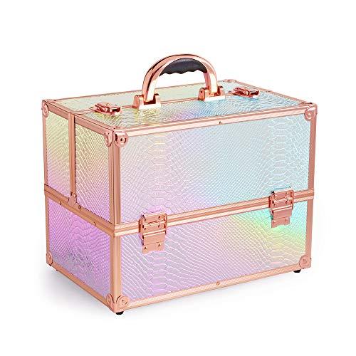 Beautify Grande Mallette de Beauté Holographique - Iridescente - Coiffeuse - Maquillage - Organiseur - Élégante - Cadeau