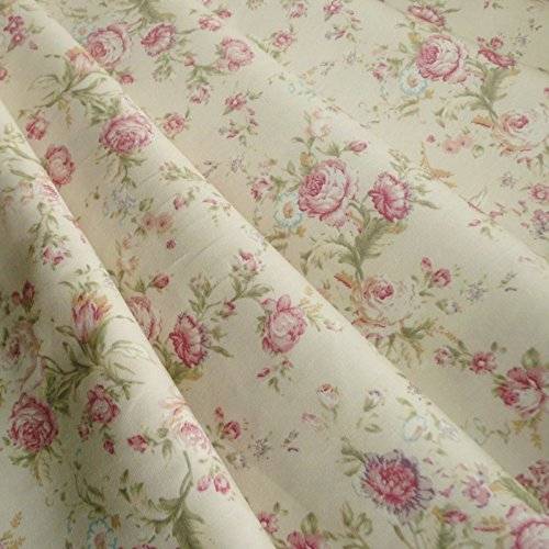 Stoff, Blumen- bzw. Rosenmuster, Vintage-Stil, Baumwolle, Popeline, Meterware, cremefarben