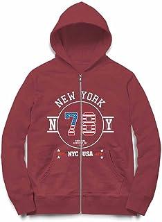 Fox Republic ニューヨーク アメリカ 星条旗 バーガンディー キッズ パーカー シッパー スウェット トレーナー 110cm