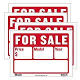 BAZIC For Sale Sign Car Auto Sales 9'X12' (2-Line), Model Year Phone Number, Cars Trucks Indoor Signage, High Visibility Signs, 4-Pack