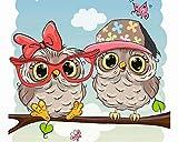 TAHEAT Dipingi con i Numeri per Adulti, Kit di Pittura a Olio su Tela acrilica Fai-da-Te per Bambini Principianti, 16 x 20 Pollici Uccelli Carini con Occhiali Animali Modello Senza Cornice