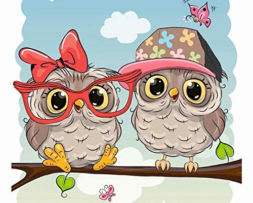 TAHEAT Pintura por números para adultos, kit de pintura al óleo de lienzo acrílico para bricolaje para niños, 16 x 20 pulgadas, pájaros lindos con gafas, patrón de animales con pinceles sin marco