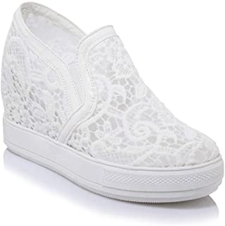 Bonrise Women Fashion Laces Low Top Wedge Sneakers Platform Increased Height Slip On Casual Sports Shoes
