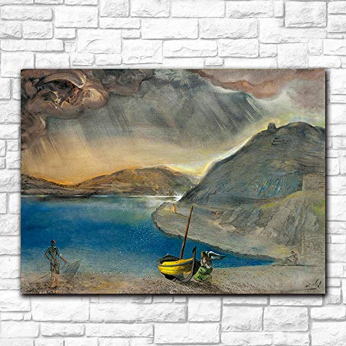 WJY Salvador Dali Port Lligat Landscape, Before The Storm, 1956 Impreso en Lienzo Pintura para Sala de Estar Decoración para el hogar Cuadros de Pared 40cm x60cm Sin Marco