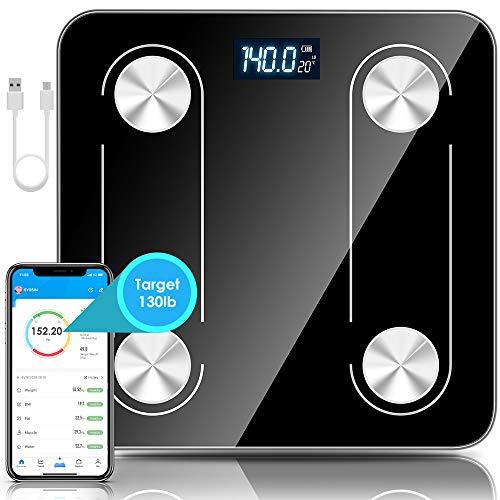 DAWINSIE Báscula Digital,Báscula de baño,Báscula con Bluetooth,Pantalla LCD,para iOS y Android, USB Carga, Máximo 180 kg, diseño de Esquina Redonda, Incluye Cinta métrica