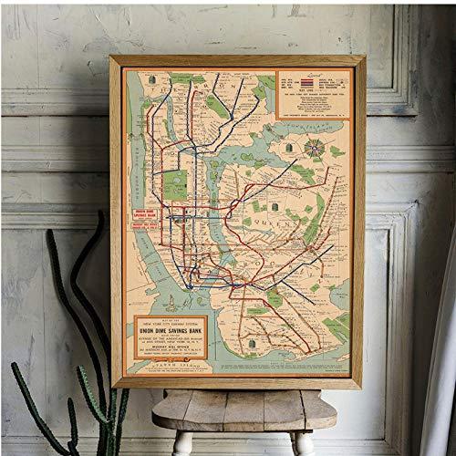 Vintage poster muurkunst metro kaarten canvas schilderij New York stad poster en print stijl wandafbeeldingen voor de woonkamer 50x70cmx1 niet ingelijst