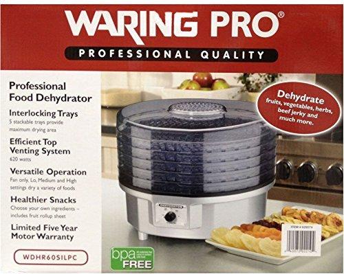 WaringPro 620W 5-Tray Professional Food Dehydrator WDHR60SILPC (Renewed)
