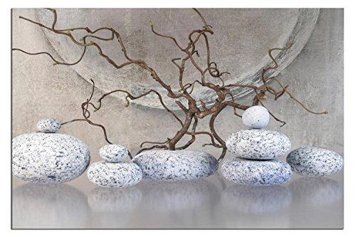 Kunst-discounter Quadro su tela FENG Shui Pietre Zen Living A04328 - Decorazione a scelta, incorniciata su telaio vero e proprio telaio, con immagini 150 x 100 cm