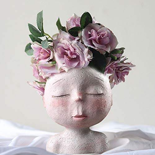 SUREH Face Planters Pots Resin Head Vase Indoor Outdoor Succulent Planter Small Plant Pot Flower Vase Creative Face Statue Planter Home Garden Decor Sculpture