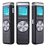 Grabadora de Voz Digital, TENSAFEE 8GB Grabadora de Sonido Estereo Grabadora Audio Digital Portatil con Reproductor de MP3, Micrófono Incorporado, Baterías Recargables