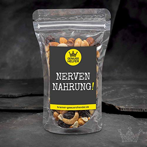 GeNUSSmischung - Nervennahrung - Ein schönes Knabber-Geschenk für alle, die starke Nerven haben müssen - 175 g leckere Nuss-Frucht-Mischung - ungeschwefelt