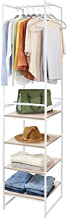 mDesign Modular Closet Organizer System Storage Unit, Sturdy Steel Frame, Metal Shelves/Garment Rack for Bedroom, Hallway, Entryway, Textured Print, 3 Drawers, Garment Rack, Set of 2 - Linen/Natural