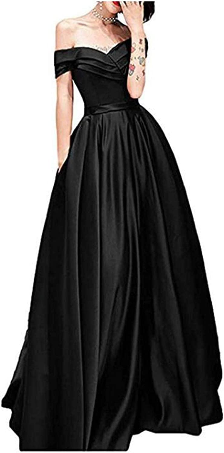 Alilith.Z Sexy Off The Shoulder Satin Prom Dresses A Line Long Formal Evening Dress Party Gowns for Women with Pockets
