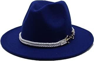 SGJFZD Men's Women's Wool Fedora Hat Autumn Trilby Hat Wide Brim Church Hat Winter Outdoor Fascinator Casual Hat Size 56-58CM (Color : Blue, Size : 56-58)