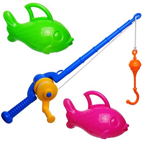 alles-meine.de GmbH 3 * 3 TLG. Set _ großes - Angelspiel - WASSERFEST -  mit 2 großen XXL Fischen  - drehbare Angel - Ausziehbar - für Baby + Kinder - Fische Angeln - mit Haken..