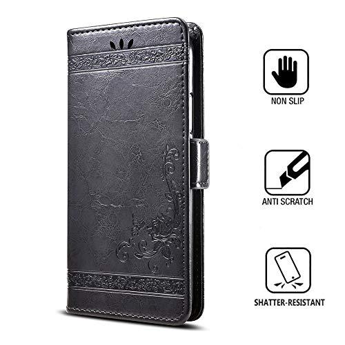 KISCO für Huawei P Smart Z Lederhülle,Retro PU Leder Flip Wallet Tasche Magnetische KartensteckplätzeFlower Patterns Protective Cover Hülle für Huawei P Smart Z-Schwarz