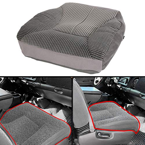 ECOTRIC Driver Side Bottom Replacement Seat Cover Left Compatible with 1998-2002 Dodge Ram 1500 2500 3500 SLT Mist Gray Cloth